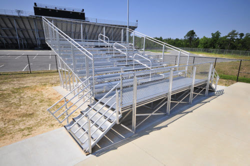 10 Row Elevated School Bleacher • Seats 104 - Handrail