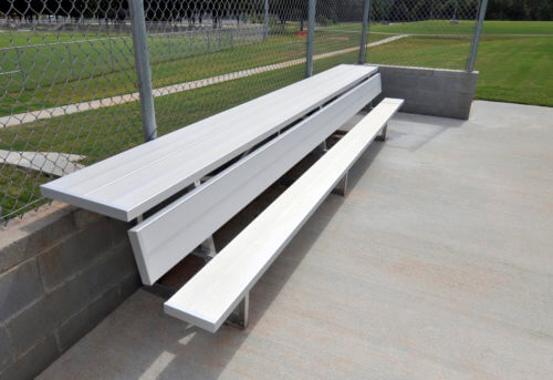 Aluminum Players Bench | Shelf 21' • Seats 14